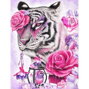 White Tiger Paint by Number - Fuchsia Rose Tiger Eye
