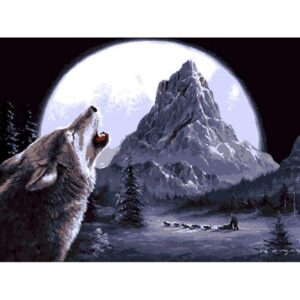 Wolf Howling at Moon - Paint by Numbers Wolf