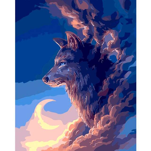 Wolf in the Clouds - Wolf Paint by Number Kits