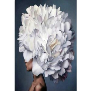 Women with White Flower Head - Modern Art Paint by Numbers